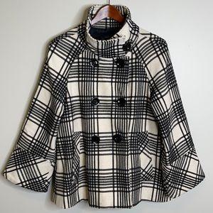 Zara black ivory plaid wool blend double jacket L